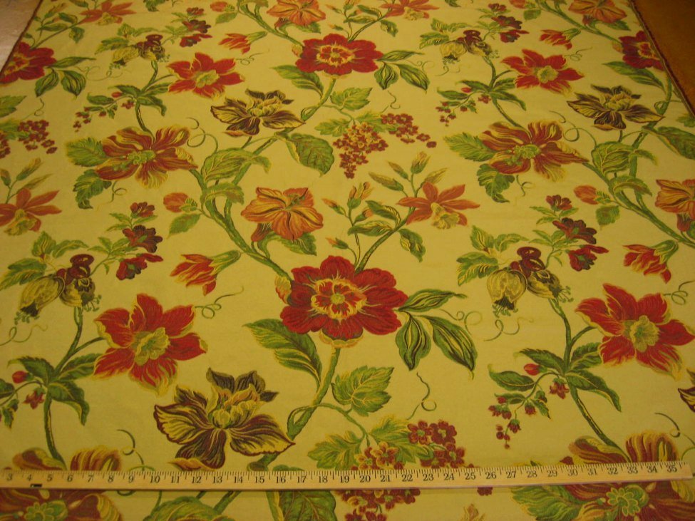 1 6 yd floral tapestry upholstery fabric r8317 ebay for Fabric remnants